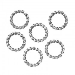 8mm Twisted jump ring silver plate (x1)