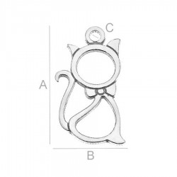 "Small and elegant one side pendant ""Cat"" silver AG925 (x1)"