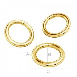 24K gold plated 5mm Open Jumpring, sterling silver (x1)