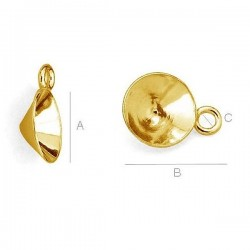 0.4um 24K gold plated Setting w/ loop for 8mm SWAROVSKI 1088 Xirius Chaton, AG-925 (x1)