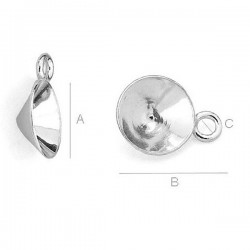 Setting w/ loop for 8mm SWAROVSKI 1088 Xirius Chaton, AG-925 (x1)