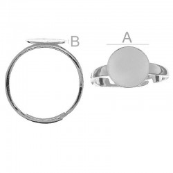 Adjustable ring w/10mm flat disc, Sterling silver (x1)