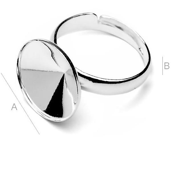 Adjustable ring w/bezel for 14mm SWAROVSKI 1122 Rivoli, Sterling silver (x1)
