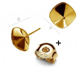 24K gold plated Ear post w/ setting for 10mm SWAROVSKI 4470 Cushion Fancy stones, AG-925 (x2)