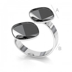 Adjustable ring w/bezels for two 10mm SWAROVSKI 4470 Cushions, Sterling silver (x1)