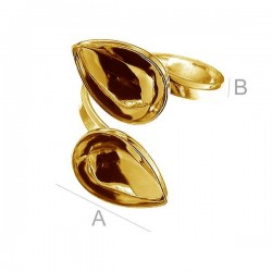 24K gold plated Adjustable ring w/bezels for two 14x10mm SWAROVSKI 4320 Fancy stones, Sterling silver (x1)