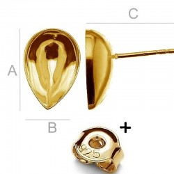 24K gold plated Ear post w/ setting for 14x10mm SWAROVSKI 4320 Fancy stones, AG-925 (x2)