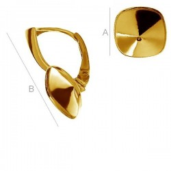 24K gold plated Leverback w/ setting for 10mm 4470 Cushion Fancy stone, Sterling Silver AG-925 (x2)