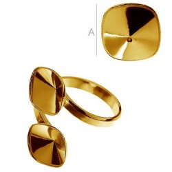 0.4um 24K gold plated Adjustable ring w/bezels for two 10mm SWAROVSKI 4470 Cushions, AG925 (x1)