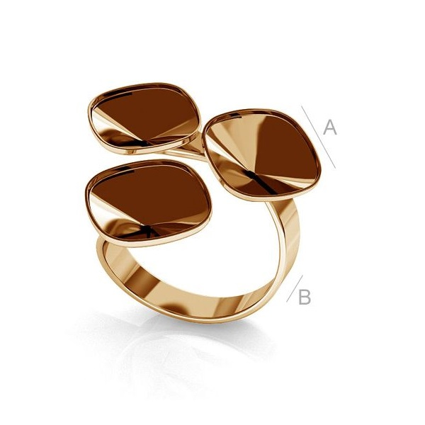 24K gold plated Adjustable ring w/bezels for 10mm SWAROVSKI 4470 Cushions, Sterling silver (x1)