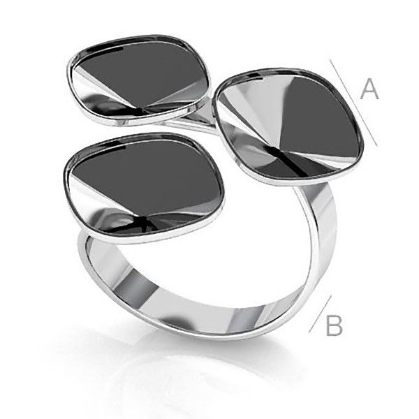 Adjustable ring w/bezels for 10mm SWAROVSKI 4470 Cushions, Sterling silver (x1)