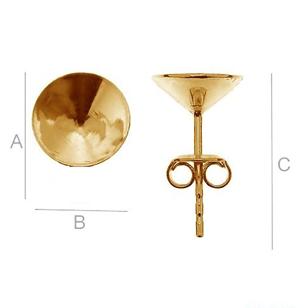 24K gold 0.4um Ear post w/ setting for 8mm SWAROVSKI 1088 Xirius Chaton, AG-925 (x2)