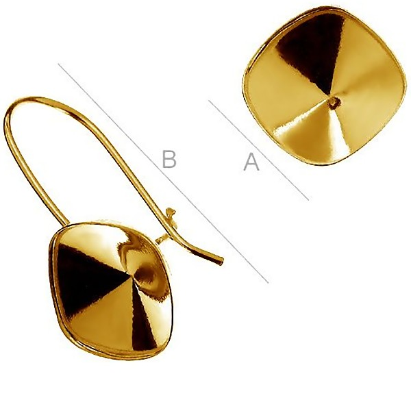 24K gold 0.4µm plated Vermeil ear wire w/bezel for 10mm 4470 SWAROVSKI Cushion (x2)