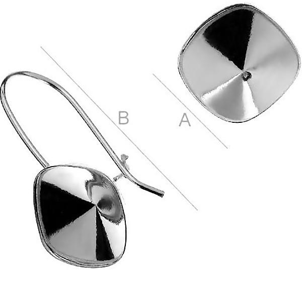 Sterling silver ear wire w/bezel for 10mm 4470 SWAROVSKI Cushion (x2)