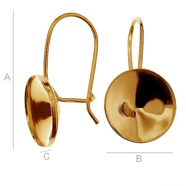 24K gold plated Vermeil ear wire w/bezel for 12mm 1122 SWAROVSKI Rivoli (x2)