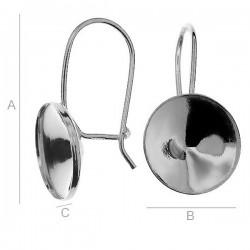 Sterling silver (925) ear wire w/bezel for 12mm 1122 SWAROVSKI Rivoli (x2)