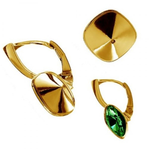"24K gold plated ""B"" Leverback w/ setting for 10mm 4470 Cushion Fancy stone, Sterling Silver AG-925 (x2)"