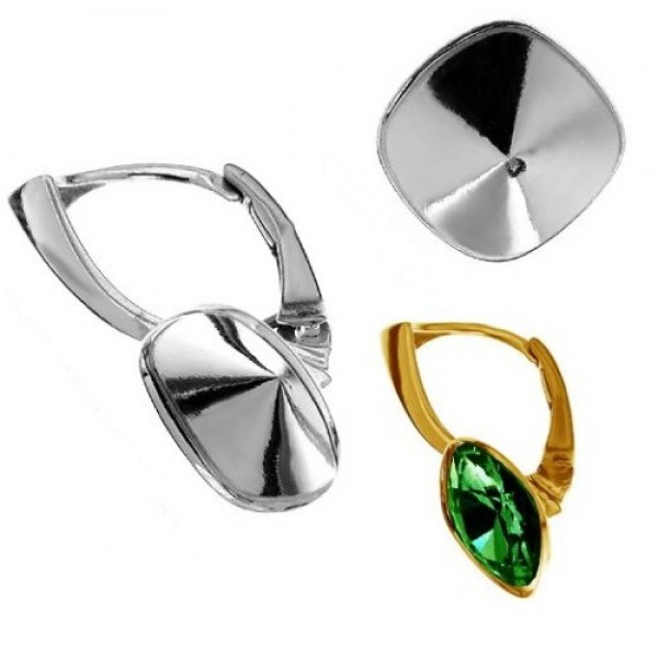 Leverback w/ setting for 10mm 4470 Cushion Fancy Stone, Sterling Silver AG-925 (x2)