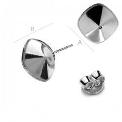 Ear post w/ setting for 10mm SWAROVSKI 4470 Cushion Fancy stones, AG-925 (x2)