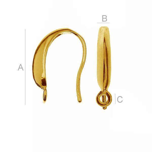 24K gold 0,4µm 14mm Ear wire, Sterling silver (x2)