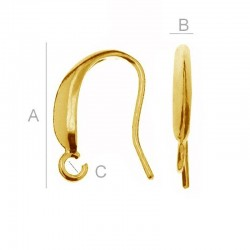 24K gold 0,4µm 14mm Ear wire, Sterling silver (x2)
