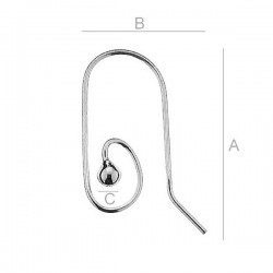 Decorative Ear wire with 3mm ball, Sterling silver (x2)