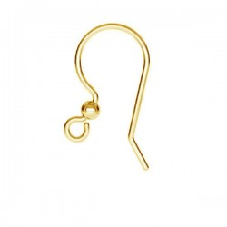 24K gold 17mm Ear wire, Sterling silver (x2)