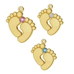 "0.4um 24K gold plated Pendant for engraving ""Baby feet"" with SWAROVSKI crystal AG925 (x1)"