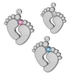 "Rhodium plated Pendant for engraving ""Baby feet"" with SWAROVSKI crystal AG925 (x1)"