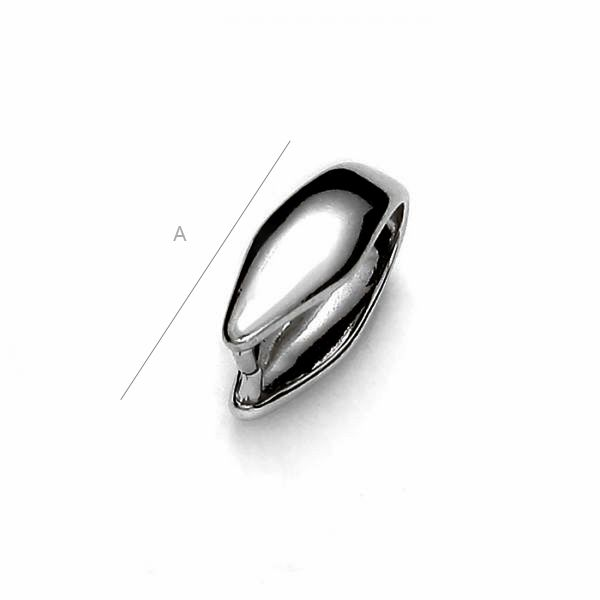 Platinum plated 10mm Pendant clasp, Sterling Silver AG-925 (x1)