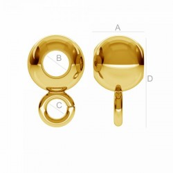 0.4um 6mm Spacer bead with loop 24K gold plated 925.Silver (x1)