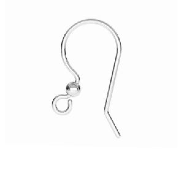 17mm Ear wire, Sterling silver (x2)