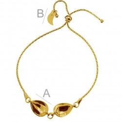 Bracelet base for SWAROVSKI 4320 14x10mm Pear Fancy stones, 24K gold plated.925 silver (x1)