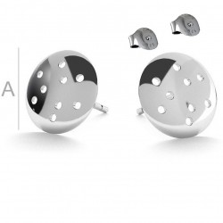Earring post with 9mm sieve & guards, Sterling Silver AG-925 (x2)