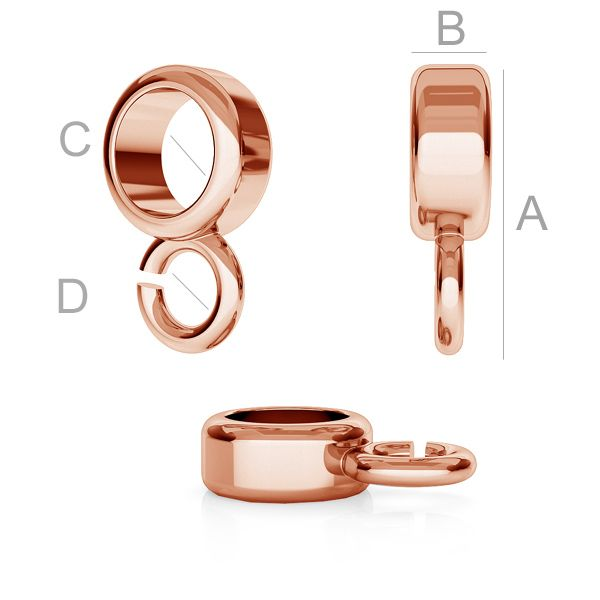Spacer bead 11x3mm with loop 18K rose gold plated 925.Silver (x1)