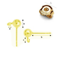 24K Gold plated Earring post with 4mm ball & guards, Sterling Silver AG-925 (x2)
