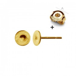 0.4um 24K gold Post with 5mm disc & guards AG-925 (x2)