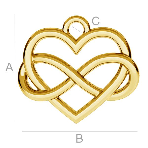 Infinity Love pendant 24K Gold plated over silver AG925 (x1)