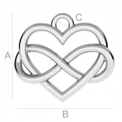 Infinity Love pendant Rhodium plated silver AG925 (x1)