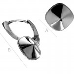 """Rhodium plated """"B"""" Leverback w/ setting for 10mm 4470 Cushion Fancy stone, Sterling Silver AG-925 (x2)"""