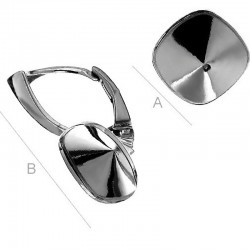 "Rhodium plated ""B"" Leverback w/ setting for 10mm 4470 Cushion Fancy stone, Sterling Silver AG-925 (x2)"