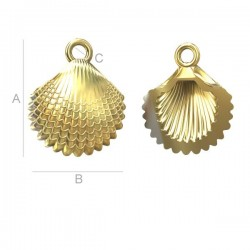 Shell Pendant - 24K Gold plated over silver AG925 (x1)