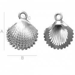 Shell Pendant - Rhodium plated over silver AG925 (x1)