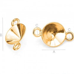 24K gold plated Setting w/ 2 loops for 8mm SWAROVSKI 1088 Xirius Chaton, AG-925 (x1)