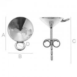 Ear post w/ setting & loop for 8mm SWAROVSKI 1088 Xirius Chaton, Sterling Silver AG-925 (x2)