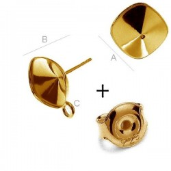 24K Gold Ear post w/ setting & loop for 4470 SWAROVSKI 10mm Cushions, Sterling Silver AG-925 (x2)