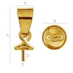 24K gold plated Pendant setting w/ loop for 6-8mm Half Drilled Pearls, AG-925 (x1)