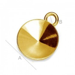 24K gold plated Setting w/ loop for 14mm SWAROVSKI 1122 Rivoli, AG-925 (x1)