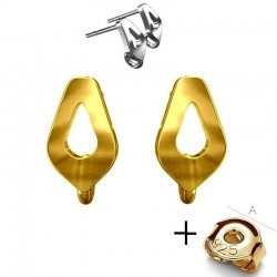24K Gold plated Earring post rhombus & guards, Sterling Silver AG-925 (x2)