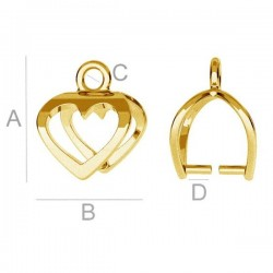 24K gold Heart pendant clasp for SWAROVSKI crystals, Sterling Silver AG-925 (x1)